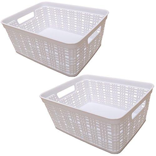 Starplast Small Deco Storage Baskets - White, 2 Pack