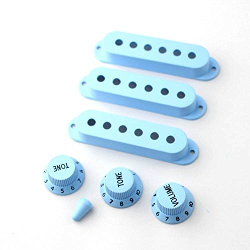 OULII Guitar Pickup Cover Volume Tone Knob Switch Tip for Fender Stratocaster Set of 7