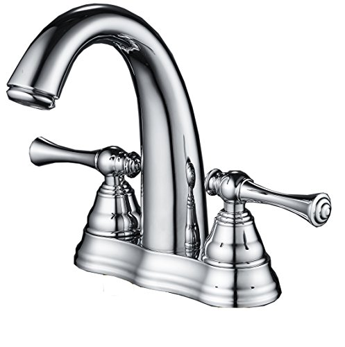 Aquafaucet Chrome Two Handle Centerset Bathroom Sink Faucet Basin Mixer (Style Centerset Faucet)
