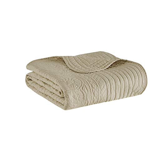 Madison Park Tuscany Luxury Oversized Quilted Throw with Scalloped Edges Khaki 60x72   Quilted Premium Soft Cozy Microfiber For Bed, Couch or Sofa ()