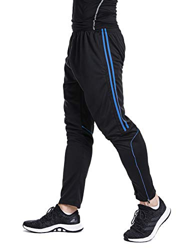 Men's Sweatpants Track Soccer Training Pants Active Jogger Pants Slim Fit Trousers Striped with Zipper Pockets M ()