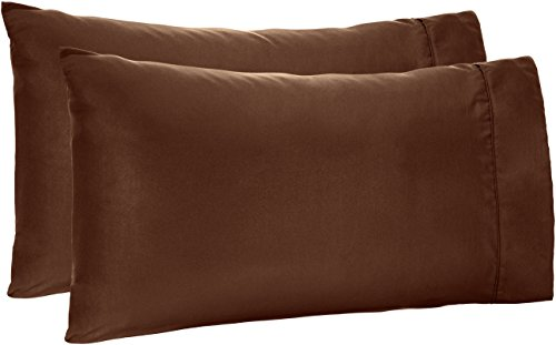 AmazonBasics Microfiber Pillowcases - 2-Pack, Standard, Chocolate