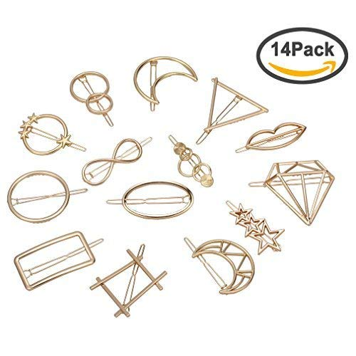 Jaciya 14pcs Minimalist Dainty Hair Clips Gold Hollow Geometric Alloy Hairpin Hair Clamps,Circle,Triangle and Moon Multiple Pattern for Women (Gold)