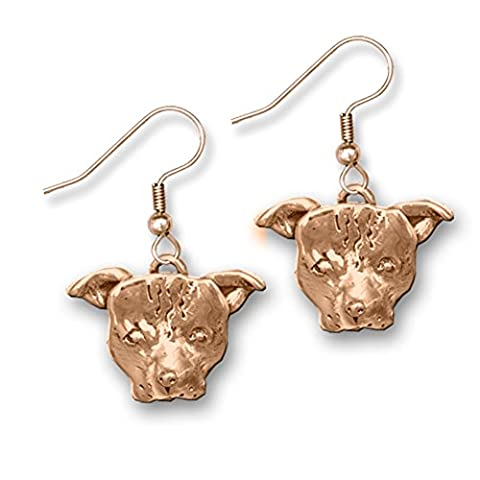 Bronze Pit Bull Earrings Made in America by The Magic Zoo - Patina Pits
