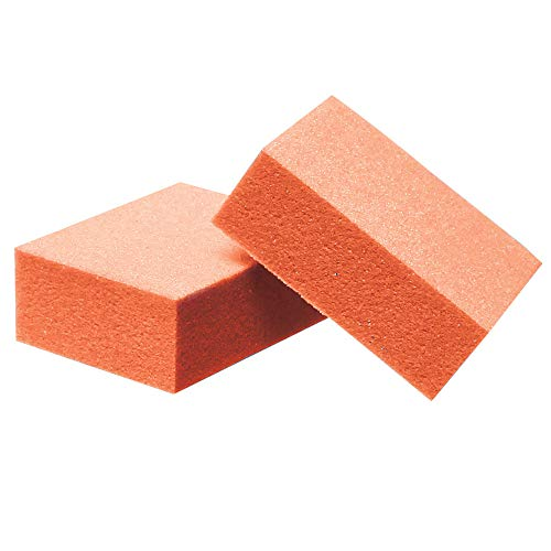 ForPro Mini Buffing Block, Orange, 100/180 Grit, Double-Sided Manicure & Pedicure Nail Buffer, 1.5