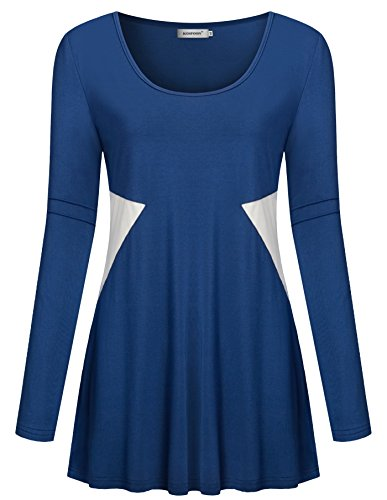 Kospoon Womens Long Sleeve Tunic Casual Round Neck Tops Color Block Shirts
