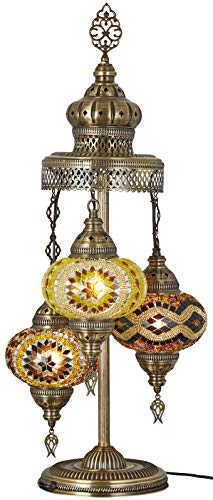 - (16 Colors) Demmex 2019-3 Big Globes Magnificent Handmade Turkish Moroccan Mosaic Tiffany Table Desk Bedside Lamp Lampshade Night Accent Mood Light for North American Use, 31