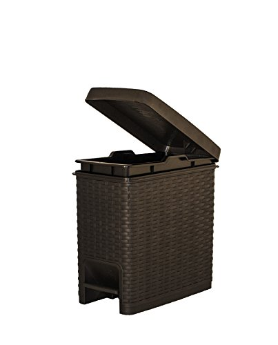 Superio Slim Trash Can Rattan Style 6.5 Qt.- Brown