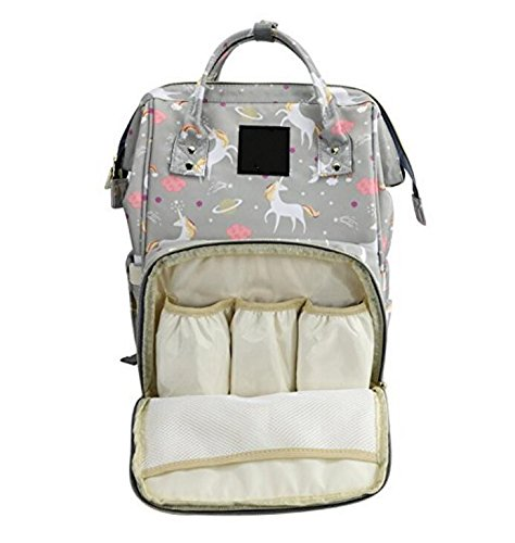 Waterproof Diaper Bag Backpack Multi-Function Large Capacity Travel Backpack Nappy Bags for Baby (Grey Unicorn)