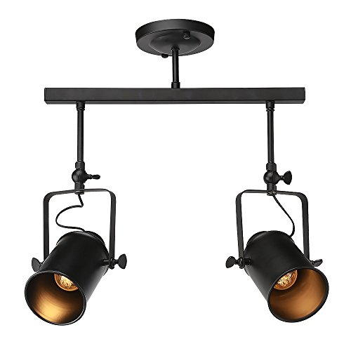 Rustic track lighting amazon lnc track ceiling light fixture 2 light industrial lamp for living room dining room bedroom bar foyer hallway mozeypictures Choice Image