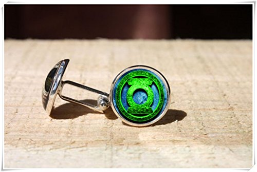 (CuteTRex jewelry Green Lantern cufflinks, wedding cuff link, glass cuff links )