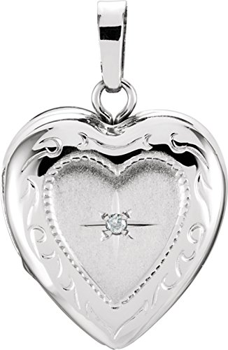 14k White Gold Diamond Heart Locket by The Men's Jewelry Store (for HER)