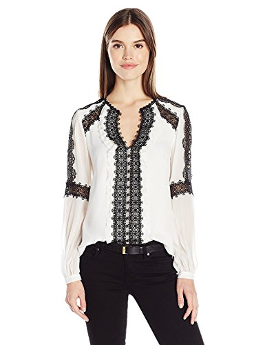 彼のバリケード実施するNanette Lepore Women's Cocco Creme Top White/Black Lace 0 [並行輸入品]