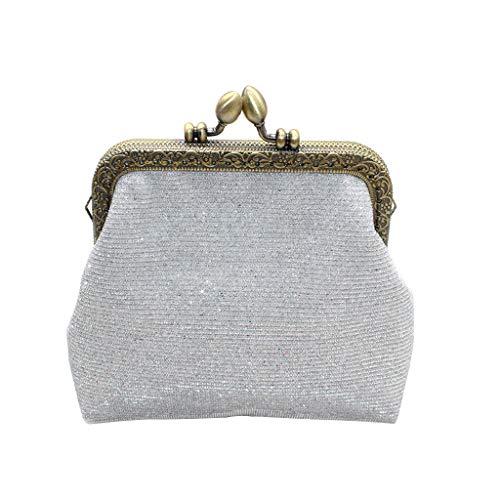 (Bambus Women Glitter Sequins Coin Purse Retro Mini Kiss-Lock Card Holders Handbag Key Holder for Girls Ladies)