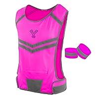 The 247 Viz Reflective Vest With Inside Pocket & 2 High Visibility Running Safety Bands, Neon Pink, Medium