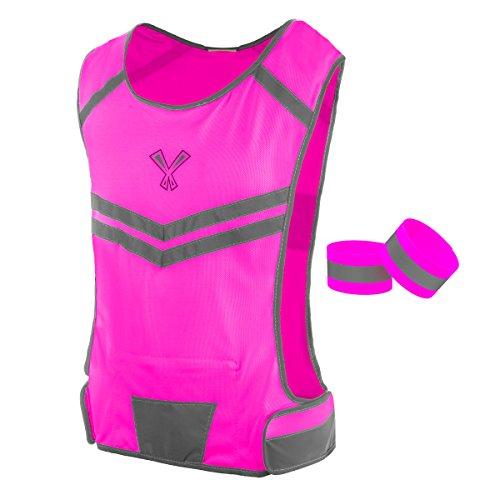 The 247 Viz Reflective Vest With Inside Pocket & 2 High Visibility Running Safety Bands, Neon Pink, Medium