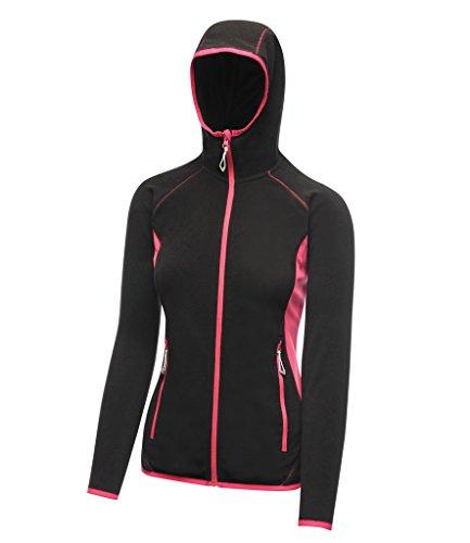 Absab Ltd Regatta Activewear Ladies Seoul Hooded Fleece Jacket Womens Full Zipped Long Sleeeve Jacket Sportswear Lightweight Running Jogging Hooded Jacket Black Hot Pink