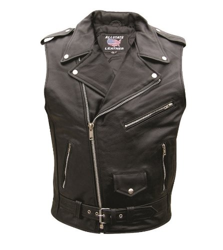 (Men's AL2012 Basic Sleeveless Motorcycle Jacket 36 Black)