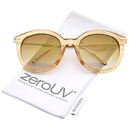 Womens Transparent Glitter Frame Ultra Slim Metal Temple Round Sunglasses 56mm