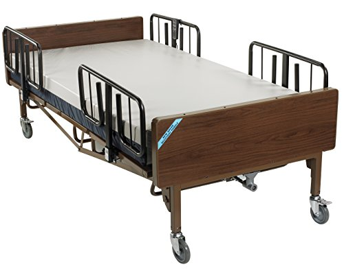 Drive Medical 15302BV-PKG Full Electric Heavy Duty Bariatric Hospital Bed, with Mattress and 1 Set of T Rails & FREE OPCTM Medical Utility Bag