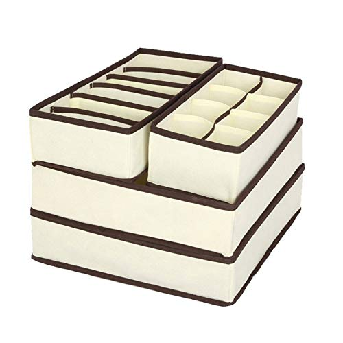 baixa 4PCS Storage Boxes Underwear Divider Drawer Lidded Closet Organizer Ropa Interior Organizador for Ties Socks Shorts Bra,Beige Set 4 Pcs