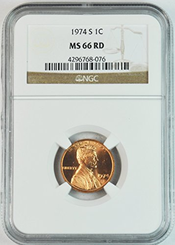 1974 S Lincoln Memorial Cent Brilliant Uncirculated San Francisco Penny MS66 NGC RD