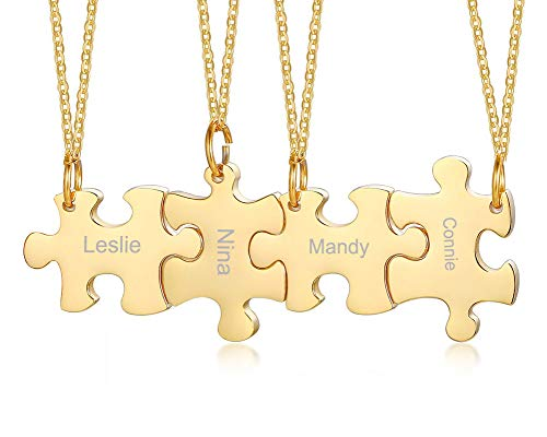 Mealguet Jewelry Personalized Gold Plated Stainless Steel Puzzle BFF Best Friend Friendship Necklace Sets for 3/4/5 (Four Best Friend Necklaces)