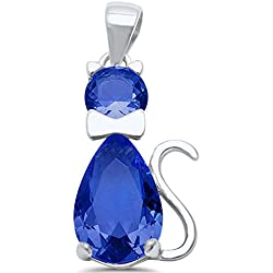 Cat Pendant Charm 925 Sterling Silver Teardrop Pear Simulated Tanzanite Round CZ