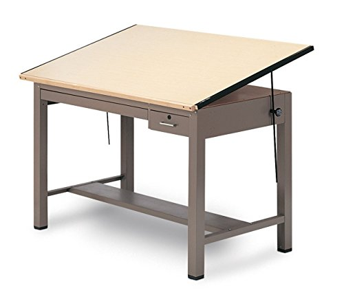 Mayline Drafting Table with Tool and Shallow Drawers, Desert Sage Paint/Birch Laminate/Laminate Selfedge Edge Ranger Steel Four Post