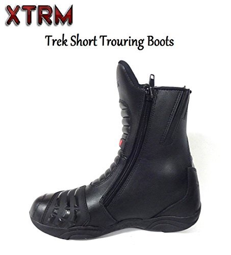 EU 41 UK 7 Full Black Pro First Full Leather High Ankle Mens Motorbike Armoured Boots Anti Slip Rubber Soul Motorcycle Waterproof Cruiser Boot Shoes Racing Sports