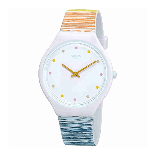 Swatch Women's Skinesquisse SVOW103 White Silicone Swiss Quartz Fashion Watch