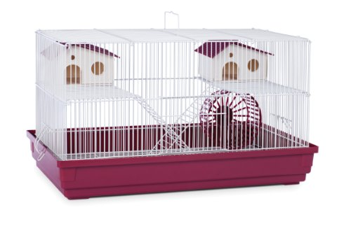 Prevue Hendryx SP2060R Deluxe Hamster and Gerbil Cage, Bordeaux Red (Best Cage For Teddy Bear Hamster)