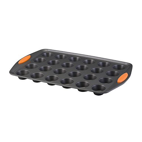 Rachael Ray Yum-o! Nonstick Bakeware 24-Cup Oven Lovin' Mini Muffin Pan, Gray with Orange Handles