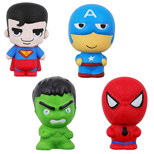 POKONBOY Super Hero Jumbo Squishies - 4 Pack Upgraded Super Hero Squishy Toys Big Squishies Slow Rising Toys for Boys Girls Kids Stress Relief Toy Easter Party Suppliess Decorative Prop -