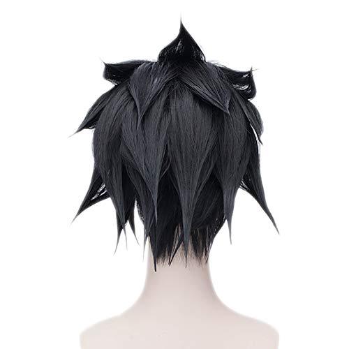 HOOLAZA Peluca mullida corta negra 30Cm Naruto Uchiha Sasuke ...