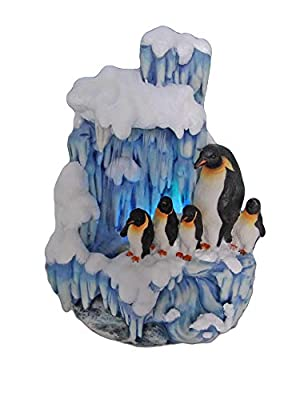 SINTECHNO SNF12076-2 Aristic Sculptural Penguin Family on Iceberg Tabletop Water Fountain