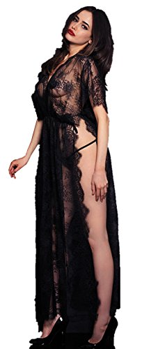 GMJF Women's Sexy Lace and Chiffon Babydoll Nightwear Long Gown Lingerie with Thong, Black, One Size (Lace Long Gown Lingerie)