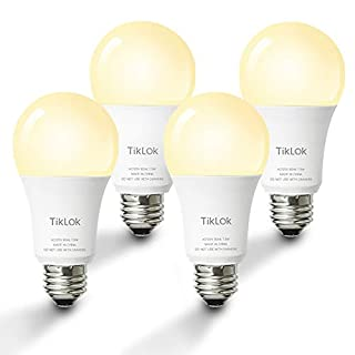 Smart LED Light Bulb, TIKLOK WiFi Dimmable Soft White A19 E26 Bulb, Compatible with Alexa and Google Home, 2700K 60W Equivalent, Easy Setup Control, No Hub Required (4 Pack)