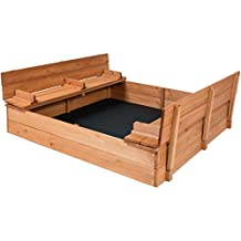 Best Choice Products 47x47inch Large Cedar Sandbox w/ 2 Bench Seats