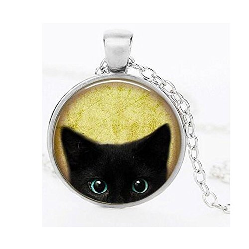 [Darkey Wang Woman Fashion Jewelry Retro Black Cat Time Gemstone Necklace (Sliver)] (Eiffel Tower 3 Person Costume)