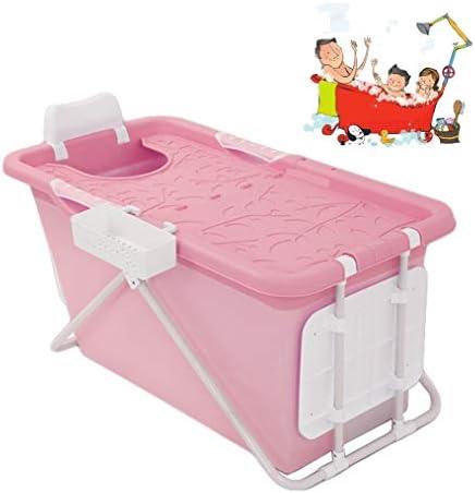 折りたたみバスタブ GYF 大人の折りたたみ式バスタブの厚さ 断熱カバー付き子供用ベビー折りたたみ式バスタブ 大きなスペース 2色プール子供用浴槽 (Color : Pink)