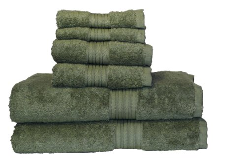 (Baltic Linen Egyptian Majestic 6-Piece Heavy Weight Cotton Towel Set, Moss)