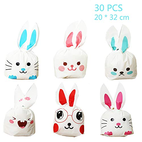 Jurxy 30PCS Halloween Bunny Candy Bags Easter Gift Wrap Bags Cookie Bread Cake Dessert Drawstring Pouch Pocket with Rabbit Ear for Party Favors Supplies -20x32CM -