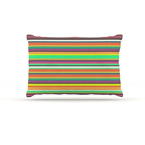 Kess InHouse Nandita Singh Pattern Play Stripes  Fleece Dog Bed, 50 by 60 , Rainbow