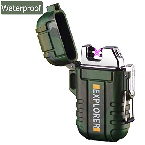 lcfun Waterproof Lighter Outdoor Windproof Lighter Dual Arc Electric Lighters Rechargeable-Flameless-Plasma Lighter for Camping,Hiking,Outdoor Adventure (Camouflage)