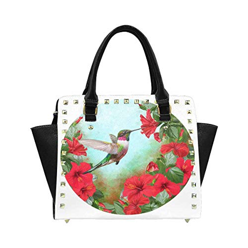InterestPrint Hummingbird in a Circle of Red Hibiscus and Green Foliage Purses and Handbags Shoulder Bag for Women Ladies Girls