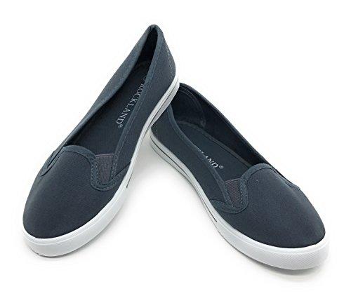 Blue Berry EASY21 Women Canvas Round Toe Slip On Flat Fashion Sneaker Grey