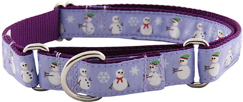 Christmas Snowman Designer Ribbon Martingale Dog Collar – Large, My Pet Supplies