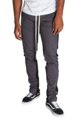 KDNK Men's Tapered Skinny Fit Stretch Drawstring Ankle Zip Striped Track Pants (XXX Large, Charcoal/Black Stripes) ()