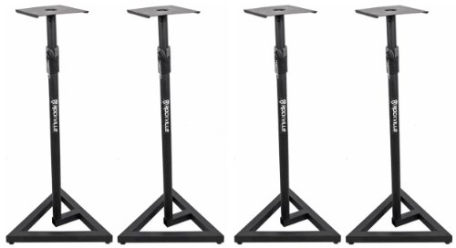 2 Pairs Rockville RVSM1 Heavy Duty Near-Field Studio Monitor Stands w/ Adjustable Height for Use in any Studio Environment by Rockville